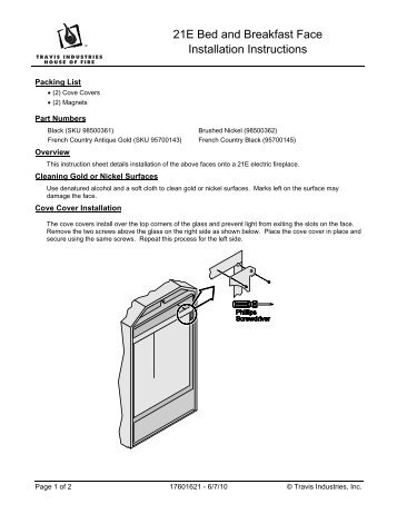 21E Bed and Breakfast Face Installation Instructions - Fireplace Inserts