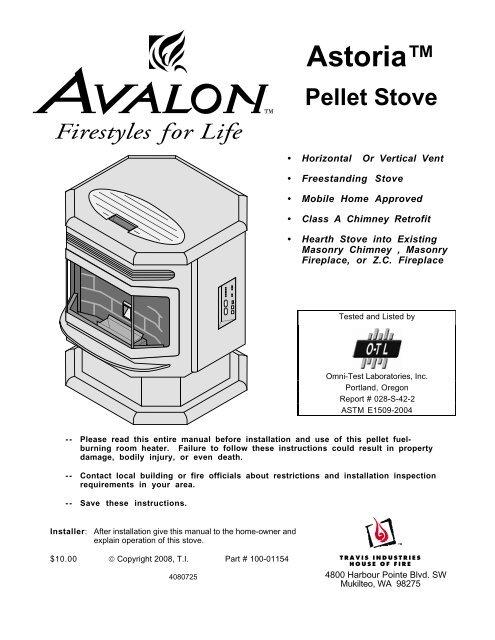 Astoriaa Pellet Stove Avalon