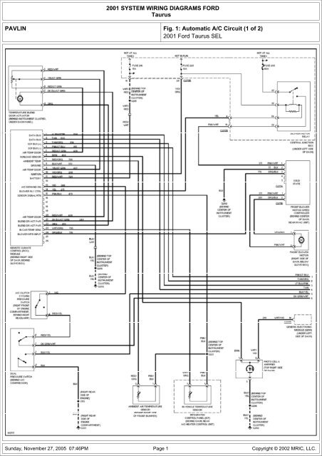 Wiring Diagram 2001 Ford Taurus Database