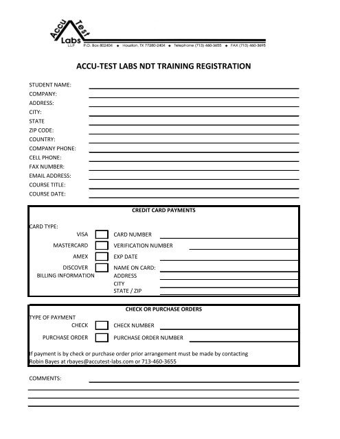ACCU-TEST LABS NDT TRAINING REGISTRATION