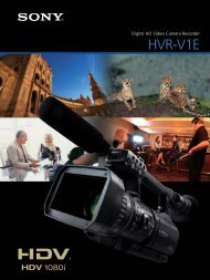 Sony HVRV1P HDV Spec Sheet (1073KB) - Rocket Rentals