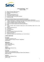 Lista de Material - 6º Ano - SESC Mato Grosso