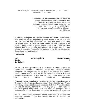 RESOLUÇÃO NORMATIVA - RN Nº 211, DE 11 DE JANEIRO DE ...