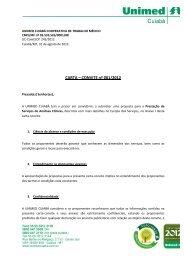 CARTA – CONVITE nº 001/2012 - Unimed Cuiabá