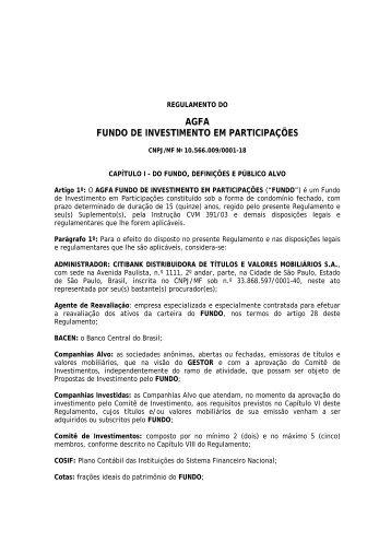 AGFA FUNDO DE INVESTIMENTO EM PARTICIPAÇÕES - Citibank