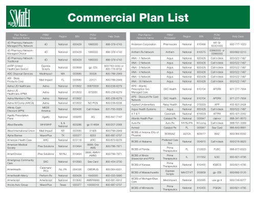 Commercial Plan List - HD Smith