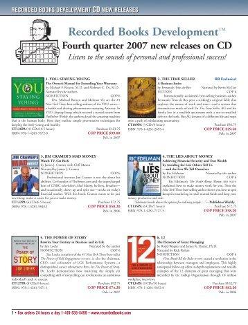 RECORDED BOOKS DEVELOPMENT CD NEW RELEASES ...