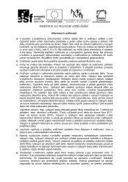 Informace k ověřování a) V souladu s projektovou dokumentací ...