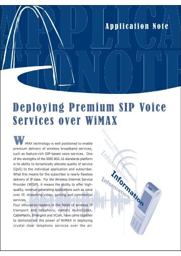 Deploying Premium SIP Voice Services over WiMAX ... - Connect Data