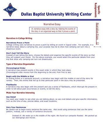 Narrative Essay - Dallas Baptist University
