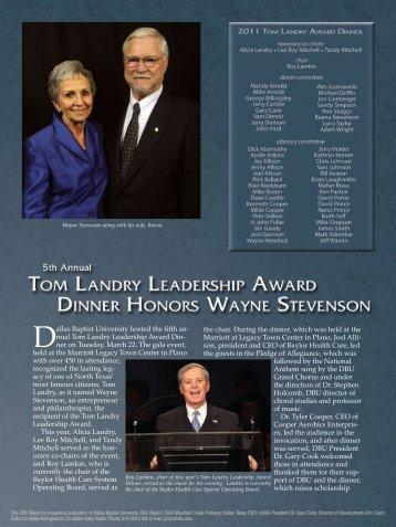 Wayne Stevenson Receives Tom Landry Leadership Award Dinner