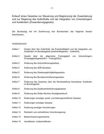 Entwurf des Zuwanderungsgesetzes - Pro Integration