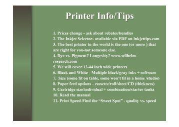 Printer Info/Tips - InkjetTips.com