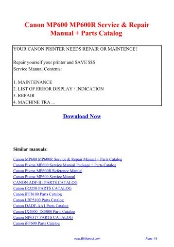 canon ir rh yumpu com canon mp600 printer service manual pixma mp600 service manual