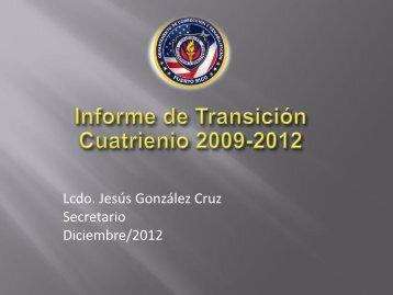 Lcdo. Jesús González Cruz Secretario Diciembre/2012