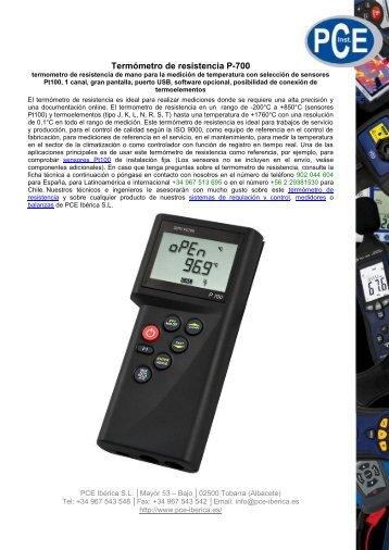 Termómetro de resistencia P-700 - PCE Ibérica