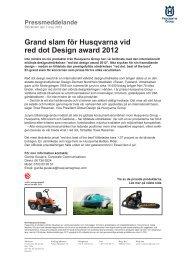 Grand slam för Husqvarna vid red dot Design award 2012 - Cision