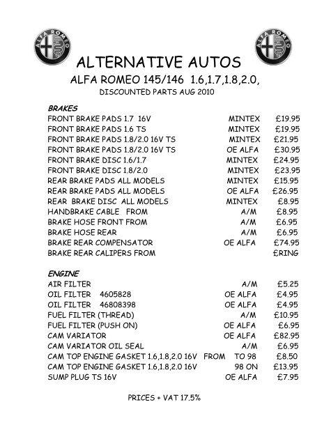 alfa romeo 146 parts manual
