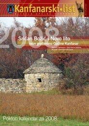 Poklon kalendar za 2008. Srićan Božić i Novo lito - Kanfanar