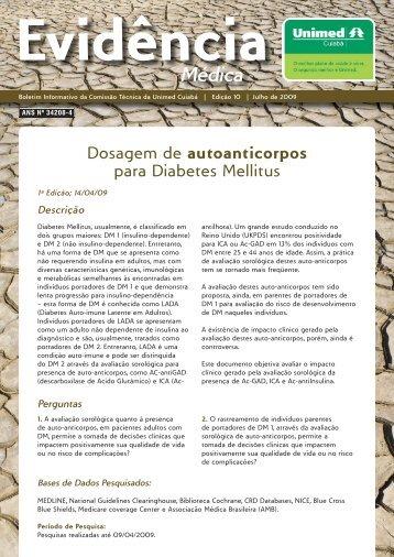 Dosagem de autoanticorpos para Diabetes Mellitus - Unimed Cuiabá