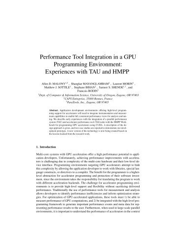 Experiences with TAU and HMPP - ParMa - Parallel Programming ...