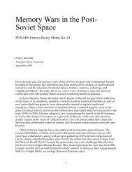 Memory Wars in the Post- Soviet Space - PONARS Eurasia