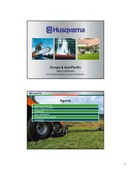Europe and Asia/Pacific - Husqvarna Group