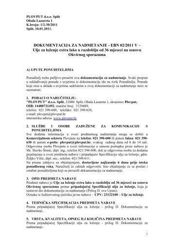 DOKUMENTACIJA ZA NADMETANJE - EBN 02/2011 V ... - Plovput