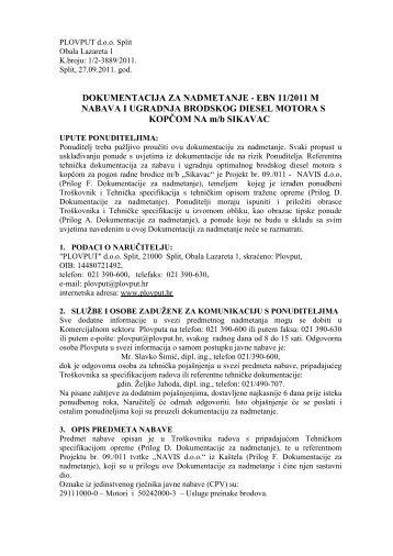 DOKUMENTACIJA ZA NADMETANJE - EBN 11/2011 M ... - Plovput