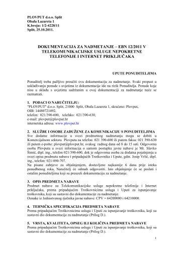 Cjelokupna dokumentacija za nadmetanje - Plovput