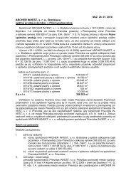 ARCHER INVEST, s. r. o., Bratislava spätný predaj ... - Mesto Prievidza
