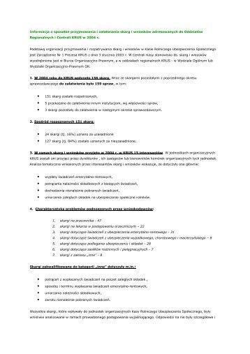 Skargi i wnioski kierowane do jednostek organizacyjnych KRUS w ...