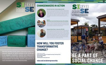 How will you foster transformative cHange? - Tulane School of ...