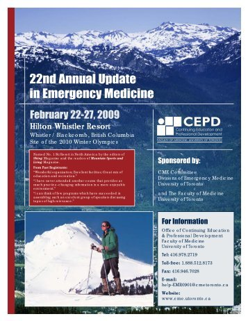 Emergency Medicine 09 Brochure.qxd - CEPD University of Toronto