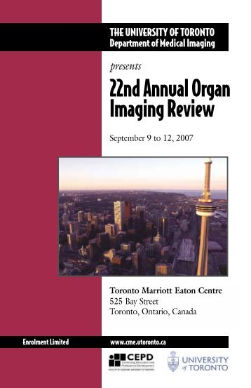 23nd Annual Organ Imaging Review - CEPD University of Toronto