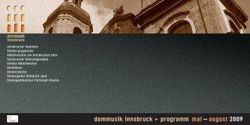 dommusik innsbruck > programm mai – august 2009