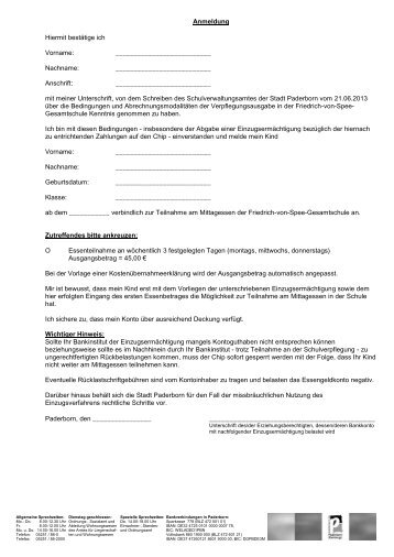 Anmeldeformular für Klasse 7 - Friedrich-von-Spee-Gesamtschule ...