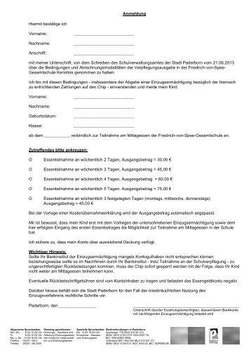 Anmeldeformular ab Klasse 8 - Friedrich-von-Spee-Gesamtschule ...