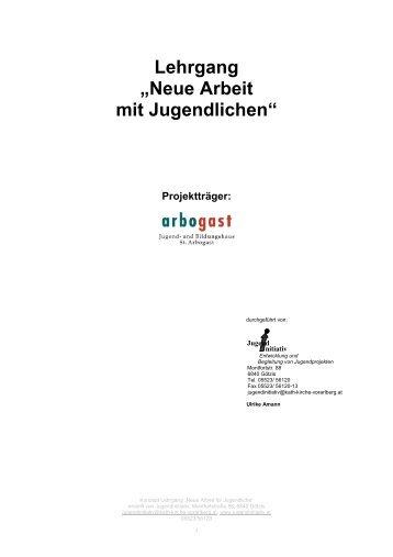"""Lehrgang """"Neue Arbeit mit Jugendlichen"""" Projektträger"""