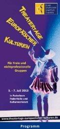 Programm 2013 - Theatertage Europäischer Kulturen