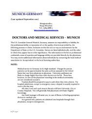 DOCTORS AND MEDICAL SERVICES – MUNICH