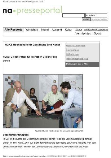 HGKZ: Goldener Hase für Interaction Designer aus Zürich - eMuseum