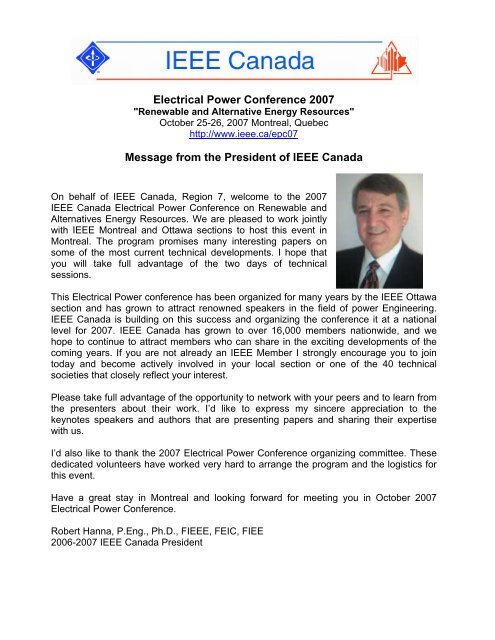 Letter of Support of IEEE Canada President to Electrical