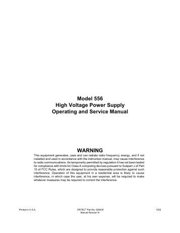 Model 556 High Voltage Power Supply Operating and Service ...