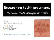 Researching health governance - The Nossal Institute for Global ...