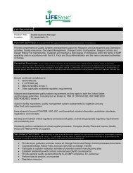 Job Description Position Title: Quality Systems Manager Location: Ft ...