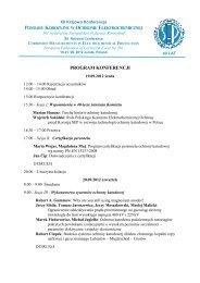program konferencji - polski komitet elektrochemicznej ochrony ...