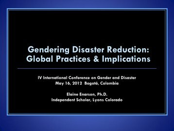 Gender, justice, disaster - IV Conferencia Internacional Género y ...