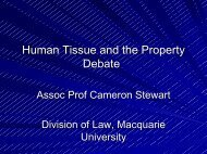 Human Tissue and the Property Debate
