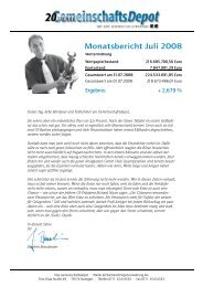 Monatsbericht Juli 2008